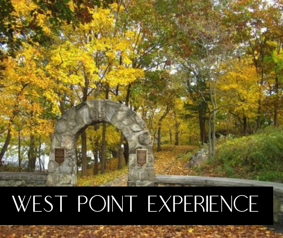 west point experience tours, photo of Flirty Walk, stone arch and stone wall surrounded by trees at West Point, NY