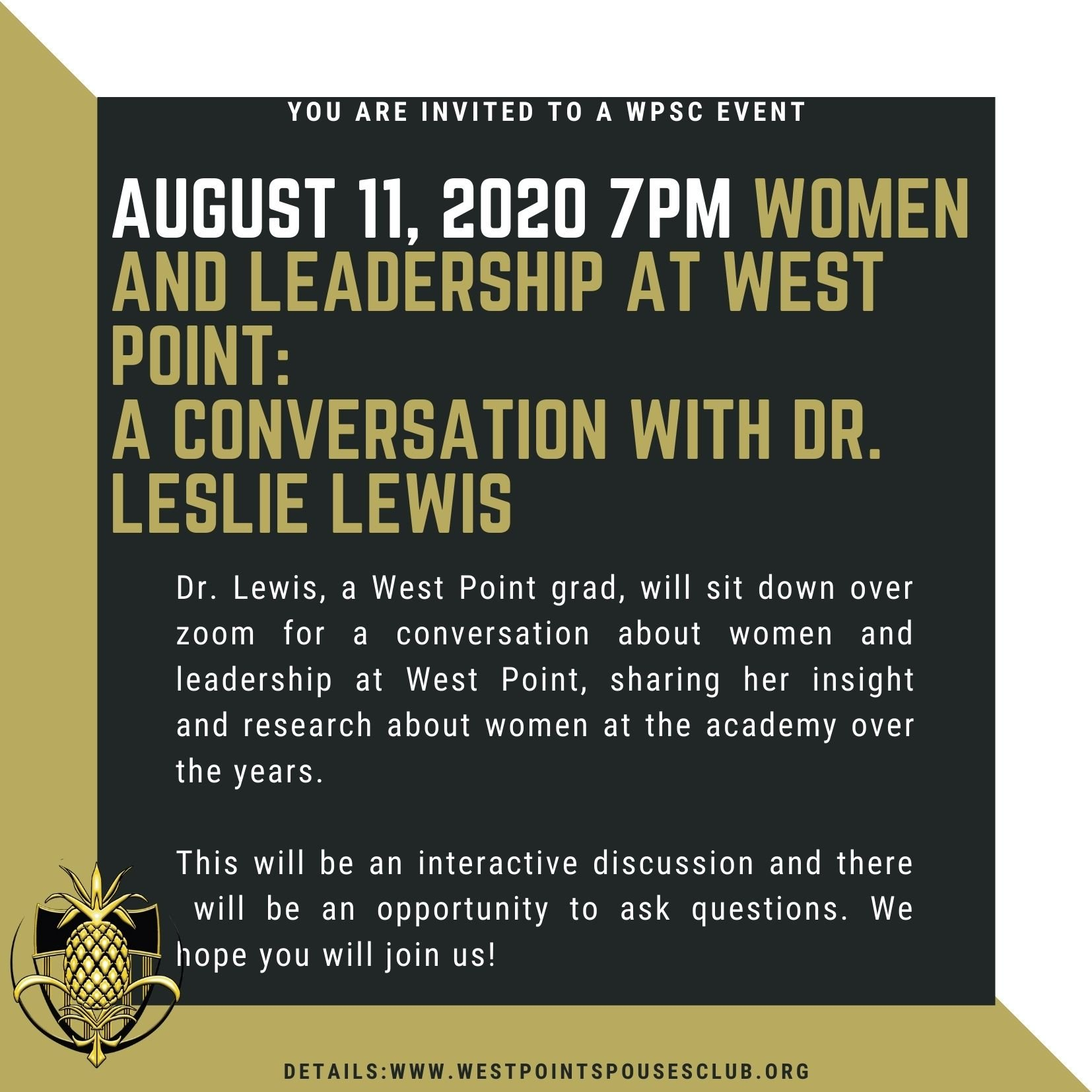 Women and leadership at west point event graphic